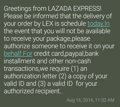 Lazada shopping experience